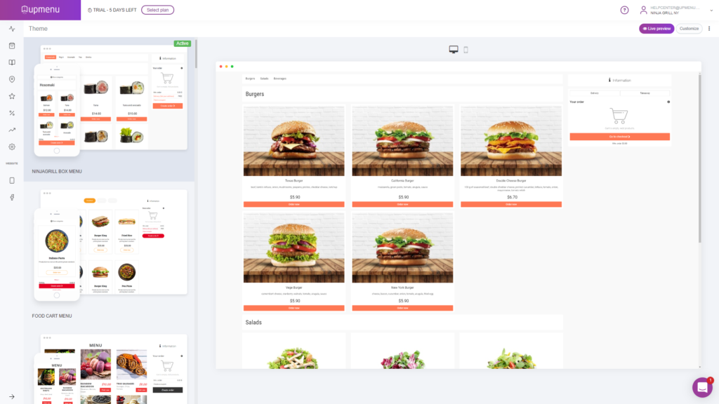 Theme selection panel in UpMenu online ordering system for website and mobile app layout.