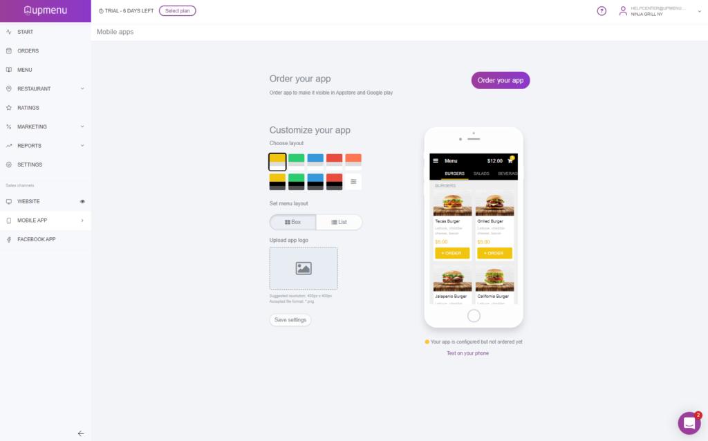 Mobile Application layout setup screen in UpMenu system